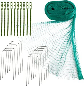 Patioer 4 x 10 M Anti Bird Protection Net Garden Plant Mesh Netting Fruit Trees Netting with Cable Ties and U-Shaped Garden Pegs