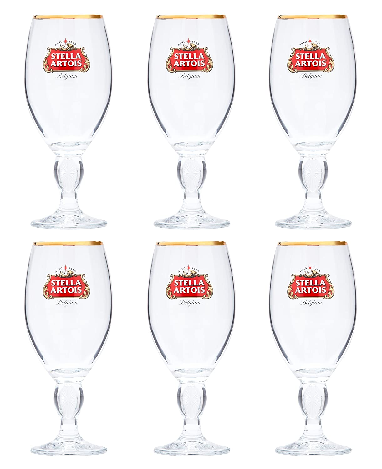 6 x Stella Artois Chalice Glass 33 Centilitres Gold Rimmed Pasabahce 307413