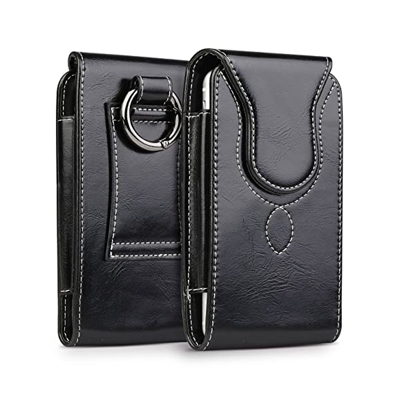 new arrival 22ed7 6ce3e iPhone 8 Plus Pouch Case, kiwitatá iPhone 7 Plus Leather Belt Holster  Carrying Case with Round Metal Carabiner for iPhone 6 Plus Galaxy J7 S8 S9  ...
