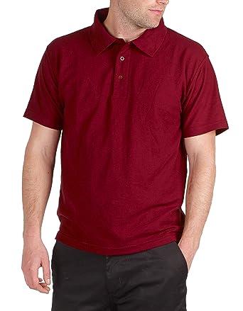 BKS - Polo - Polo - Básico - Polo - para Hombre Negro Rojo (Maroon ...