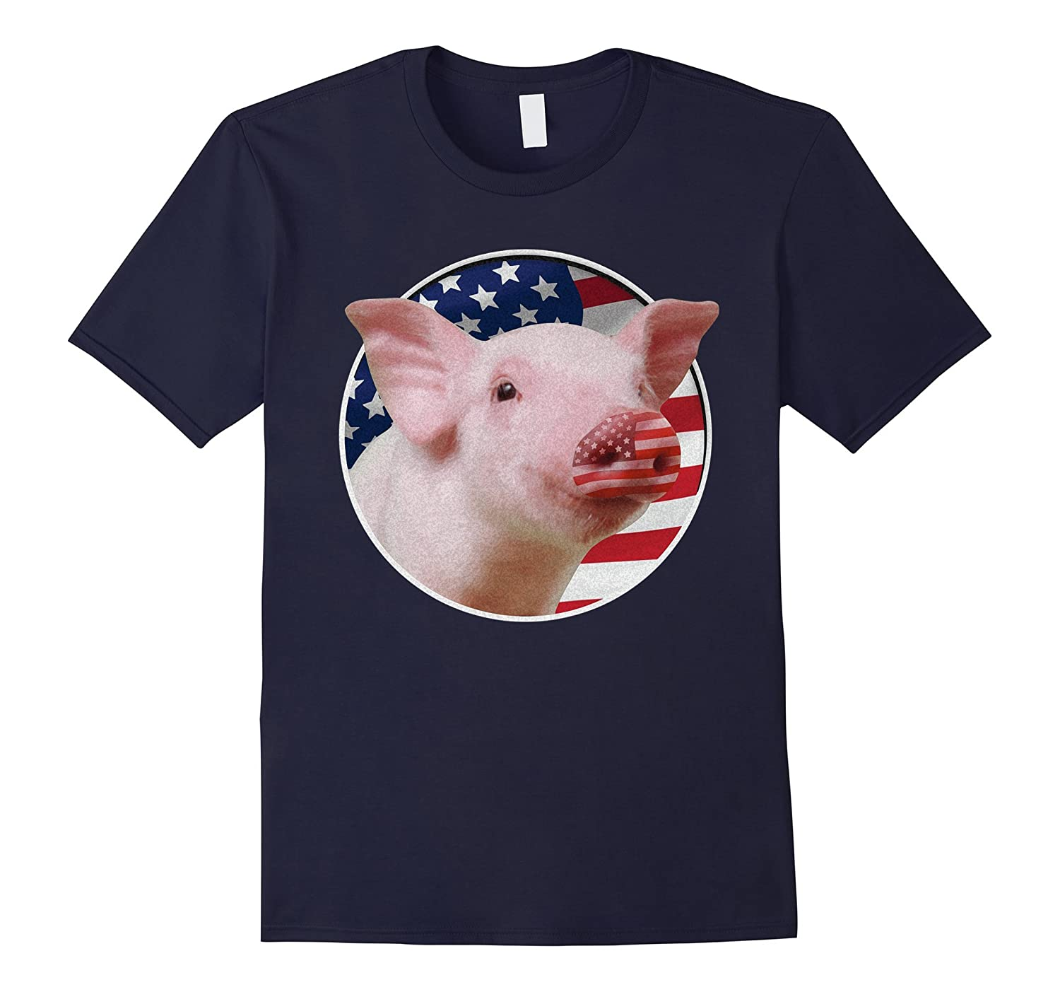 3D American Pig Flag T-shirt Happy July 4th Independence-PL