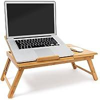 Relaxdays Tavolino Porta Notebook in bambù, con Sistema di Ventilazione e Spazio per Mouse e Ulteriori Accessori, H X B X T: 30.5 X 72.5 X 35 cm, Naturale