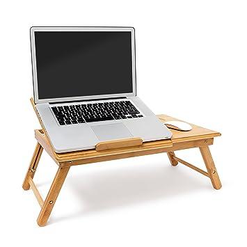 INTEX Relaxdays – Mesa Plegable de bambú para Ordenador portátil. Mesa Auxiliar de Altura Regulable