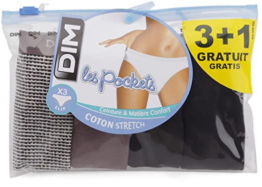 Dim Les Pockets Coton - Lot de 3+1 - Slip - Femme - Multicolore (L ... 5fe8e97db34