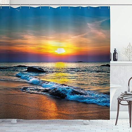 Summer Shower Curtain Sea Horizon Shore Beach Print for Bathroom