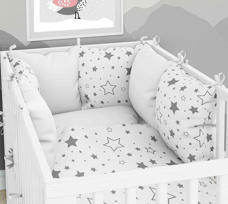 Kissen-Nestchen Sechs Kissen samt Bez/ügen f/ür das Babybett 70 x 140 cm