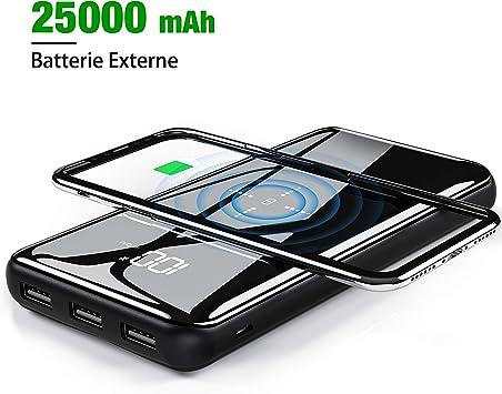 Gnceei - Batería Externa de 25000 mAh – Gran Capacidad inalámbrica ...