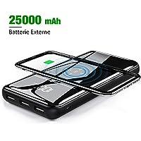 Gnceei Batterie Externe Portable 25000 mAh – Grande Capacité sans Fil Chargeur à Induction avec Affichage Numérique LCD,3 Sorties USB, Batterie Externe à Double entrée pour Tous Les Smartphones