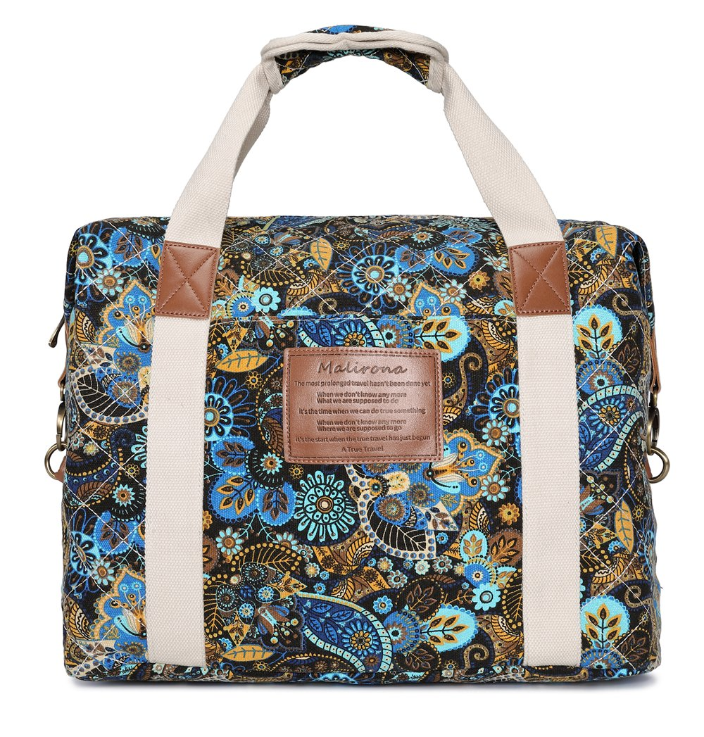 Malirona Ladies Women Canvas Travel Weekender Overnight Carry-on Shoulder Duffel Tote Bag Bohemian Flower