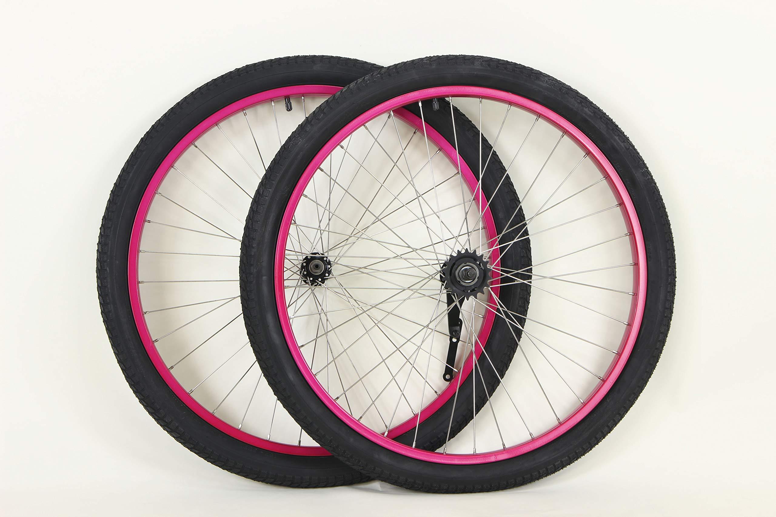 MANGO 26 inch Coaster Brake Wheel Set Beach Cruiser Bike Bicycle with Tires and Tubes! (Black) (Pink)