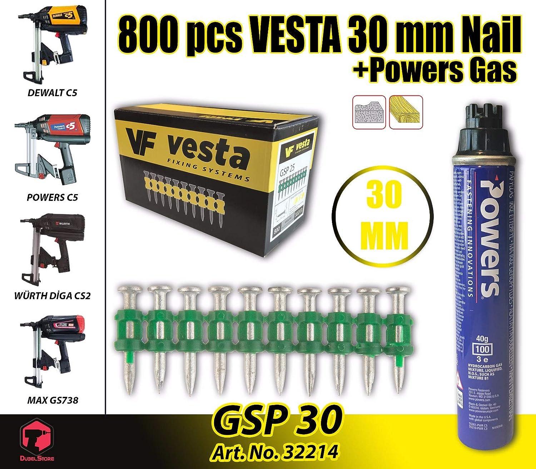 Clavadora de gas Powers C5 W/ürth DIGA CS-2 Vesta MaxGS73 C5-30 MM DeWalt C5