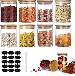 FOVERN1 Glass Storage Jars with Bamboo Lids 200ML Set of 8, Airtight Storage Canister with Labels and Chalk Marker, Food Cereal Storage Containers for Home Kitchen Tea Herbs Pasta Coffee Flour Herbs …
