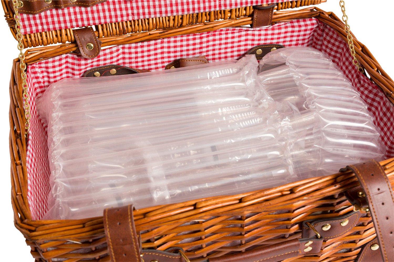 LYP15022, rojo Cesta de picnic completa de porcelana Vajilla 2 personas Cesta de mimbre Cesta de picnic de mimbre Madera mimbre Cesta de picnic