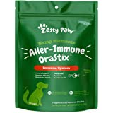 Zesty Paws OraStix for Dogs - Aller-Immune Sticks with Hemp Seed Turmeric EpiCor Fish Oil Supports Immune Function Seasonal A