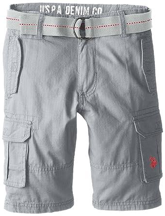 b8511b94b Amazon.com  U.S. Polo Assn. Boys  Solid Cargo Short with Belt  Clothing