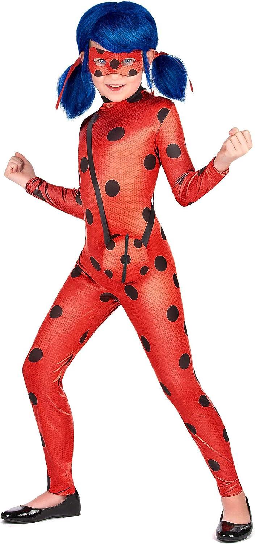 Generique Ladybug/™-M/ädchenkost/üm mit Tasche Miraculous/™ rot-schwarz 98//104 3-4 Jahre