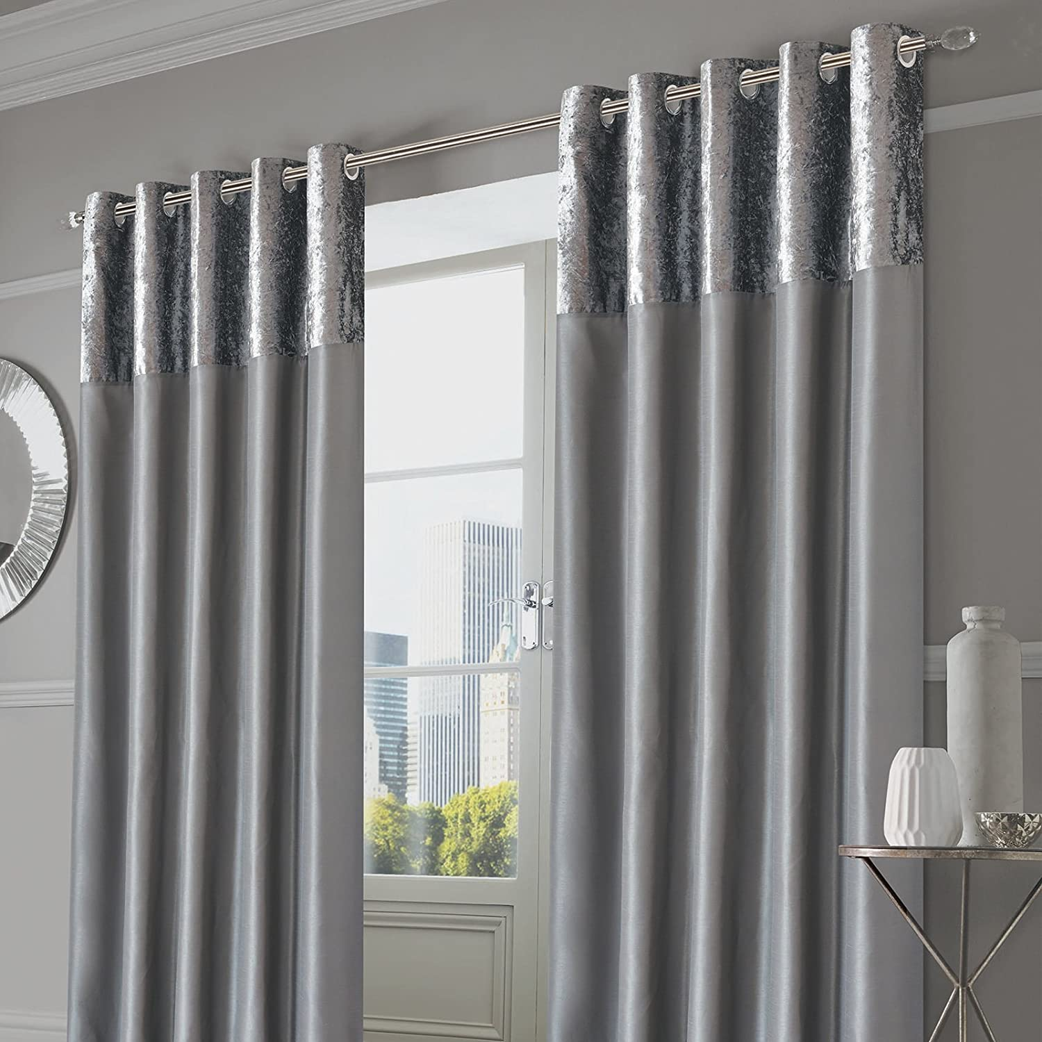"""Sienna PAIR of Crushed Velvet Band Curtains Fully Lined Eyelet Ring Top Faux Silk Window Treatment Panels - Silver Grey, Width 66"""" x Drop 54"""" 66"""" wide x 54"""" drop Manhattan Silver Grey"""