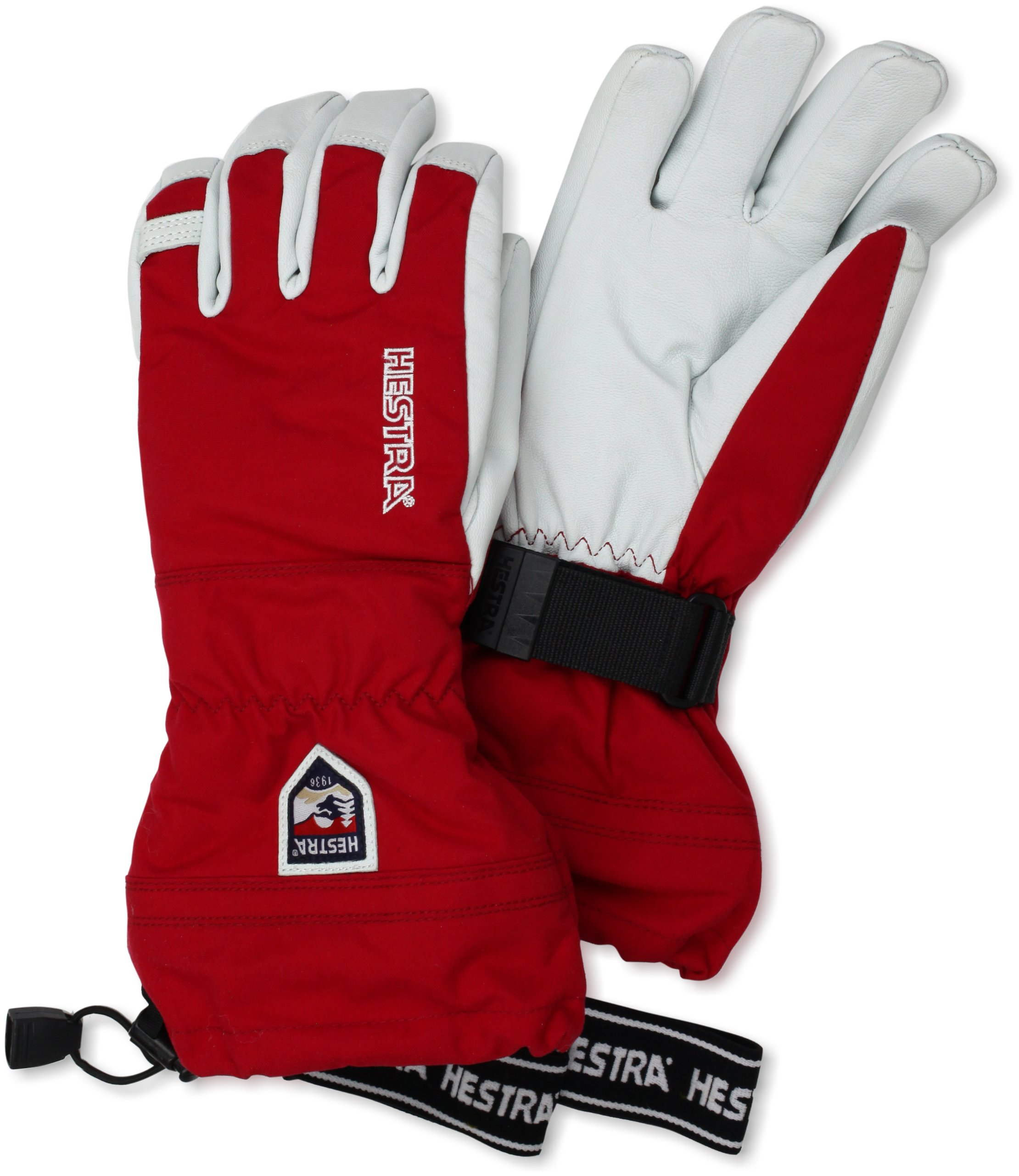 Hestra Army Leather Heli Ski and Ride Glove with Gauntlet,Red,10 by Hestra