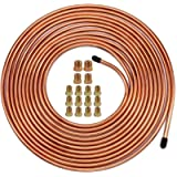 Muhize 25 Ft. of 1/4 Brake Line Tubing Kit - Flexible Copper Tube Roll 25 ft 1/4' (Includes 16 Inverted Flare Fittings)
