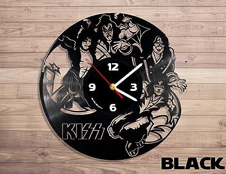 Kiss Rock banda reloj de pared de disco de vinilo