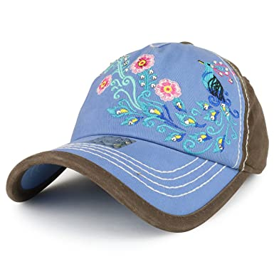 Trendy Apparel Shop Peacock Embroidered Stitch Multi Color Baseball Cap -  Brown Carolina Blue 650ae704dee