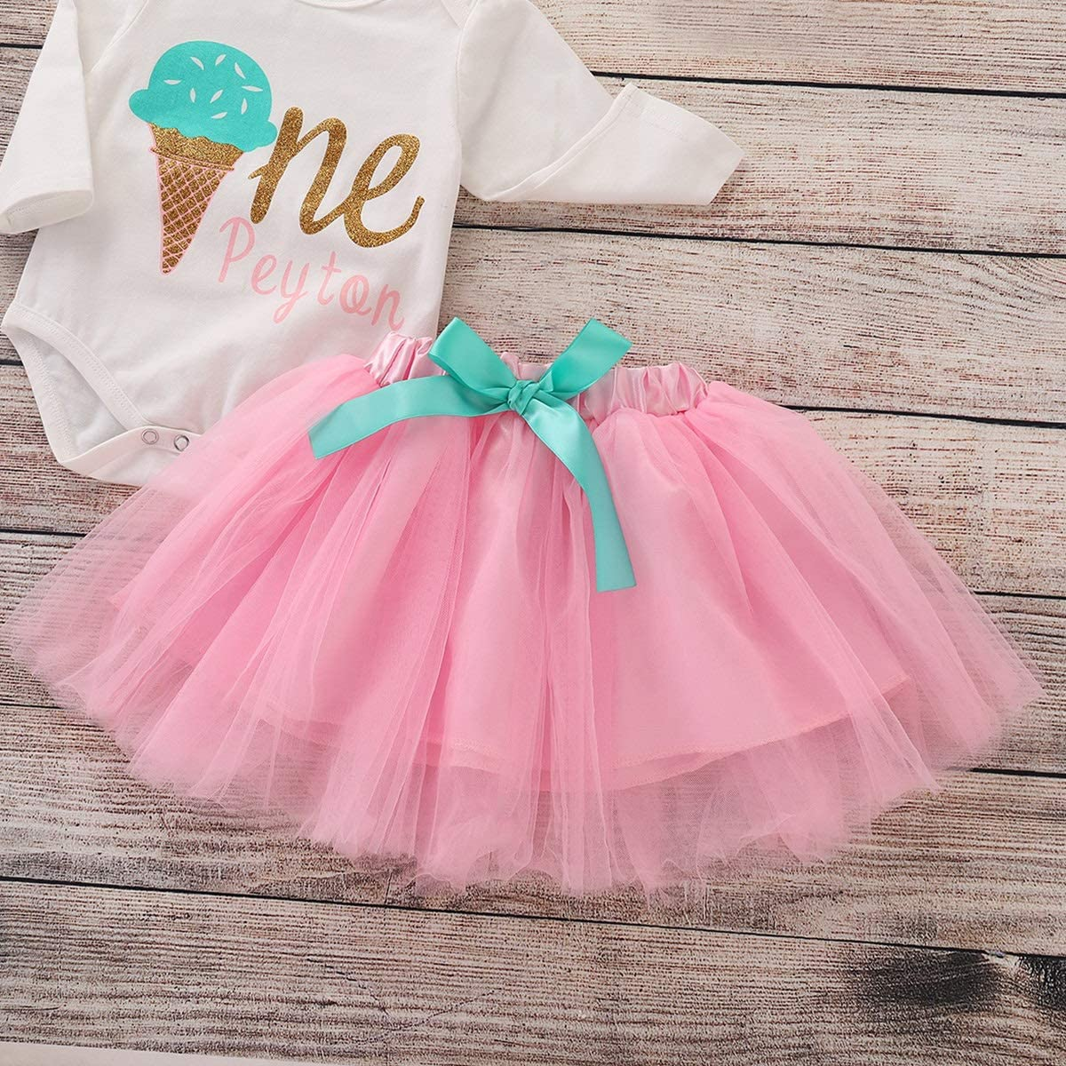 puseky 3pcs//Set Baby Girls Clothes Long Sleeve Ice Cream Romper+Mesh Tutu Skirt+Flower Headband Sunsuit Outfits Set