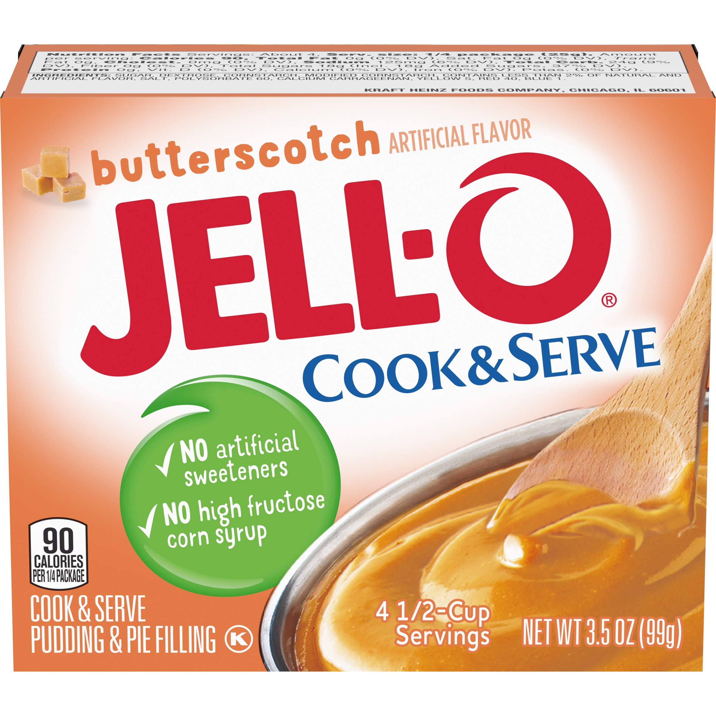 Jell-O Cook & Serve Butterscotch Pudding & Pie Filling (3.5 oz Boxes, Pack of 6)