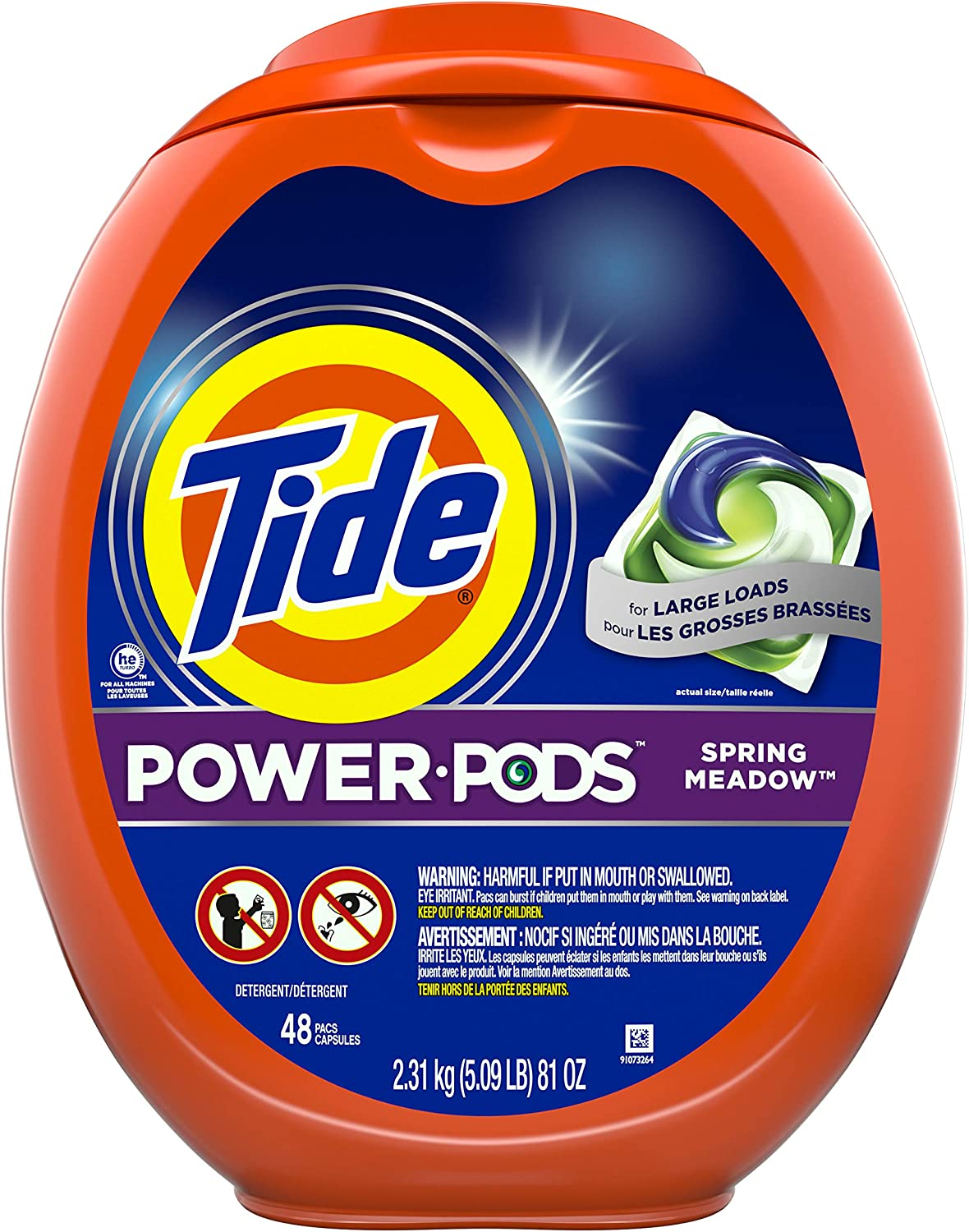 Tide Power pods Laundry Detergent pacs, Designed for Large Loads, Spring Meadow, 48 Count