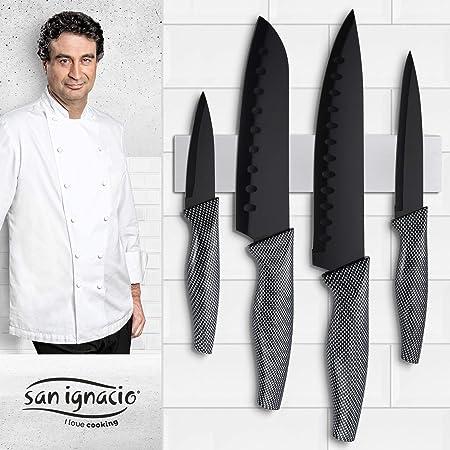 San Ignacio Copper Plus Set de 3 sartenes + 4 Cuchillos de Cocina ...