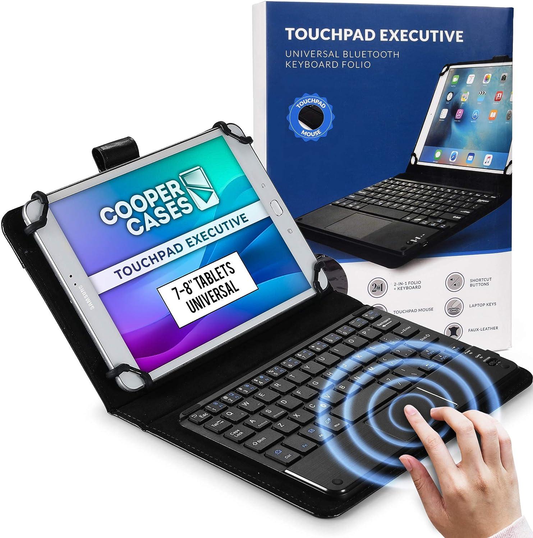 Cooper Panel Táctil Ejecutiva [Teclado de Ratón Multitáctil] Funda para Tableta de 7-8 Pulgadas | Ajuste Universal | iPadOS, Android, Windows (Negro)