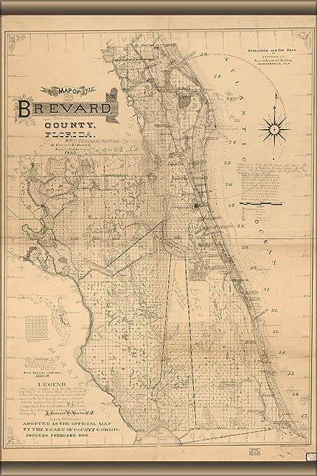 Map Of Brevard County Florida.Amazon Com 42x63 Poster Map Of Brevard County Florida 1893