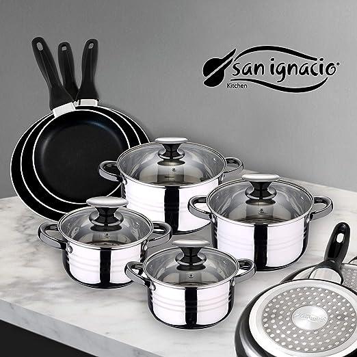 San Ignacio PK1415 Juego de Sartenes y Batería de Cocina, Aluminio, Negro, Acero Inoxidable
