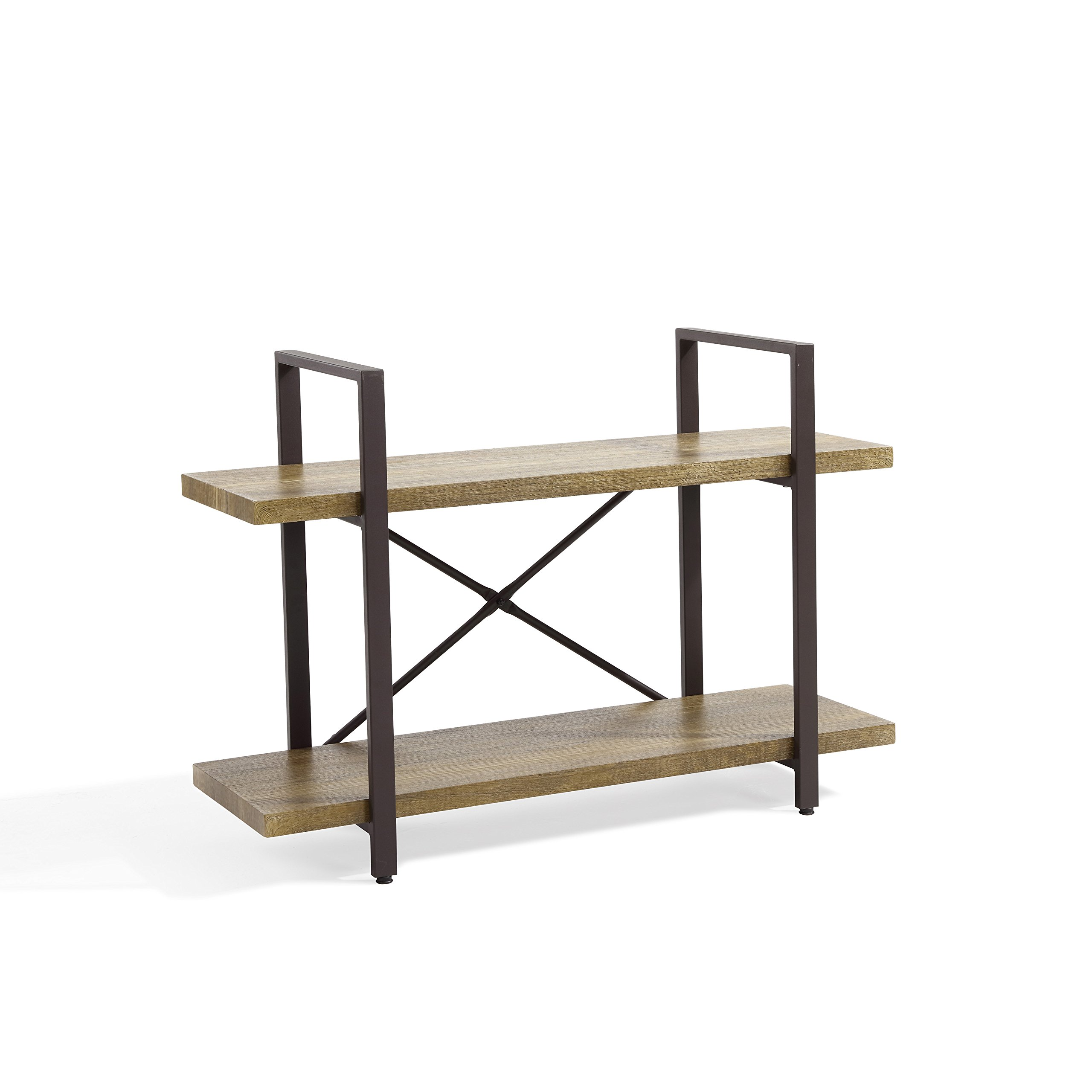 Danya B GH092 Decorative 2-Tier Rustic Bookcase with Metal Frame – Brown