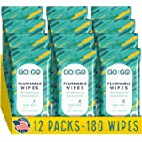 Flushable Wet Wipes for Travel by Go on the Go - Biodegradable, Alcohol-Free, with Soothing Aloe and Calendula, 12 packs…