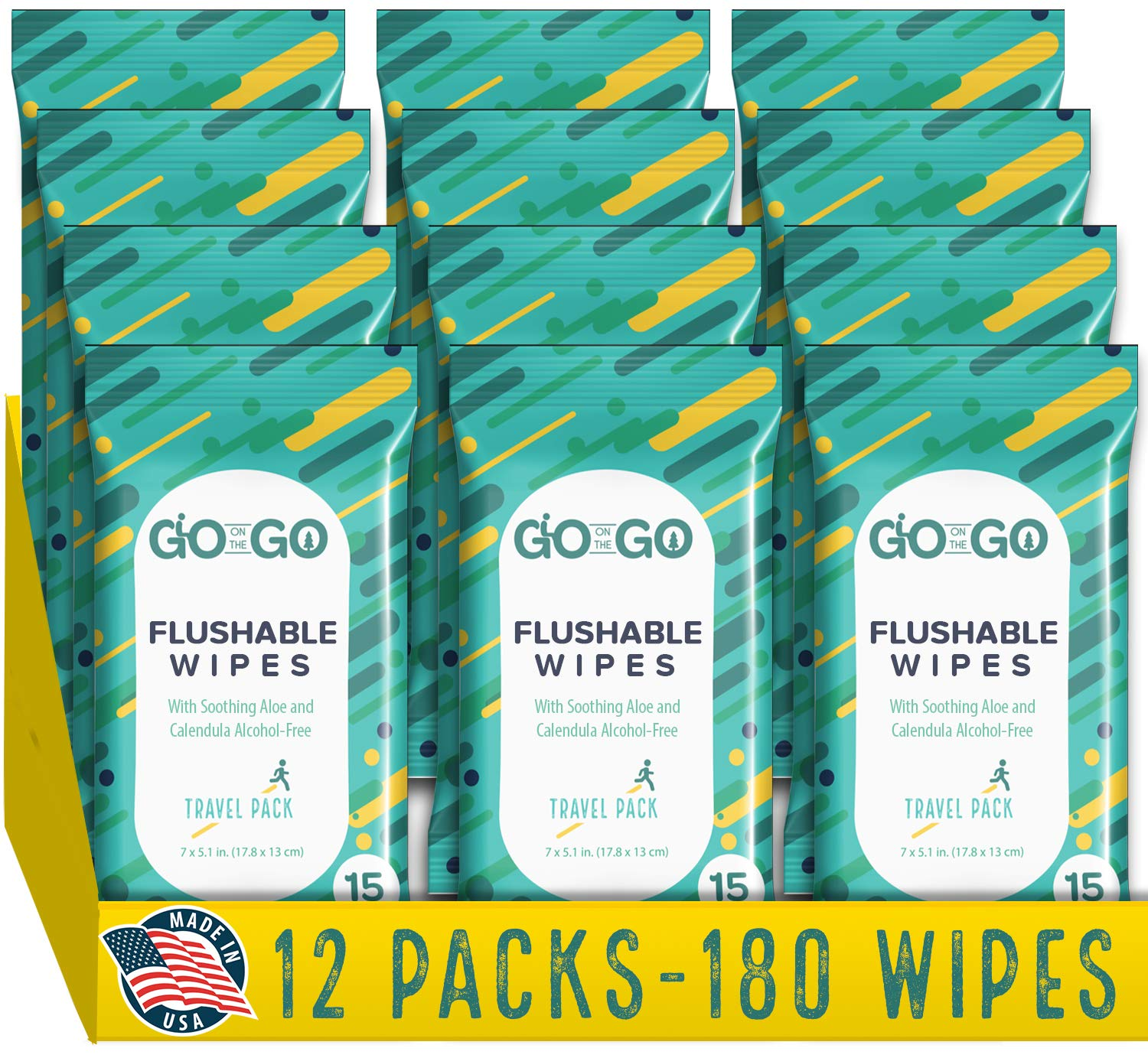 Flushable Wet Wipes for Travel by Go on the Go - Biodegradable, Alcohol-Free, with Soothing Aloe and Calendula, 12 packs of 15 count Each (180 Wipes Total) by GO ON THE GO