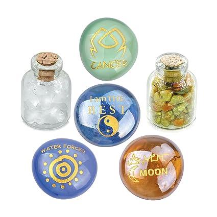 BestAmulets Ancient del Zodiaco Cáncer Yin Yang Poderes Birthstones Unakite piedras de cristal de cuarzo mágica