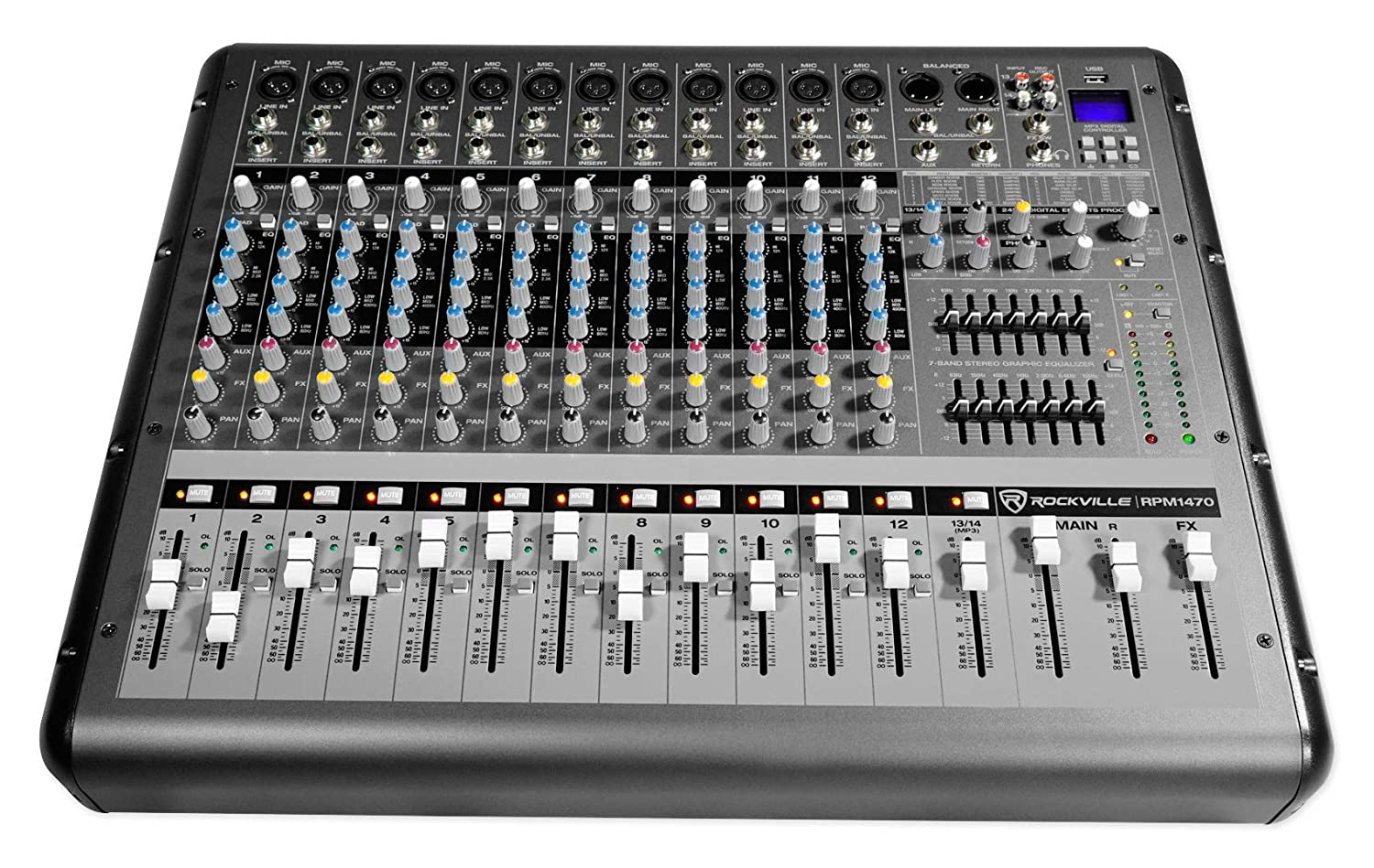 Rockville RPM1470 14-Channel 6000w Powered Mixer, USB, Effects For Church/School RPM1470 HOW