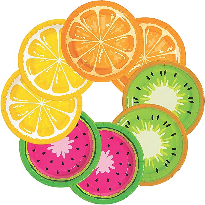 Party Supplies Party 16 Pieces Print Napkins Print Tableware Tutti Frutti Fruit Print Bev Napkin for Party Fun Express