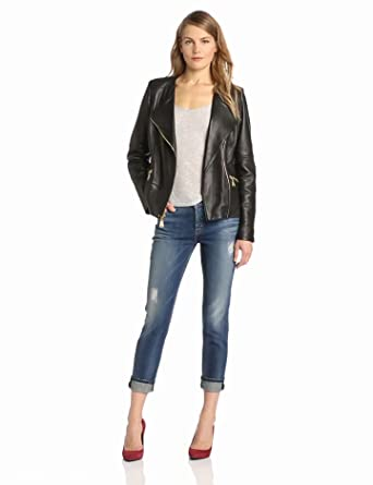 Via Spiga Women's Luxurious Leather Moto Jacket, Black, Medium