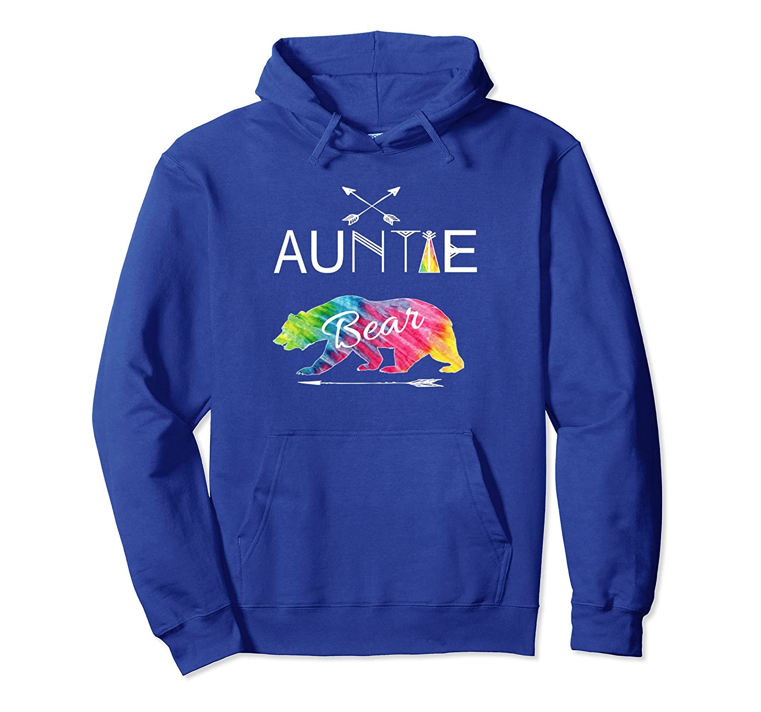 Auntie Bear Hoodie Tie Dye Family Vacation & Camping-AZP