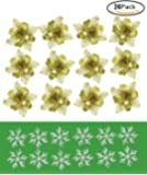 Glitter Artificial Christmas Flowers Christmas Glitter Snowflake Ornaments Glitter Poinsettia Christmas Tree Ornaments 6 Inches 24 Pack - Gold