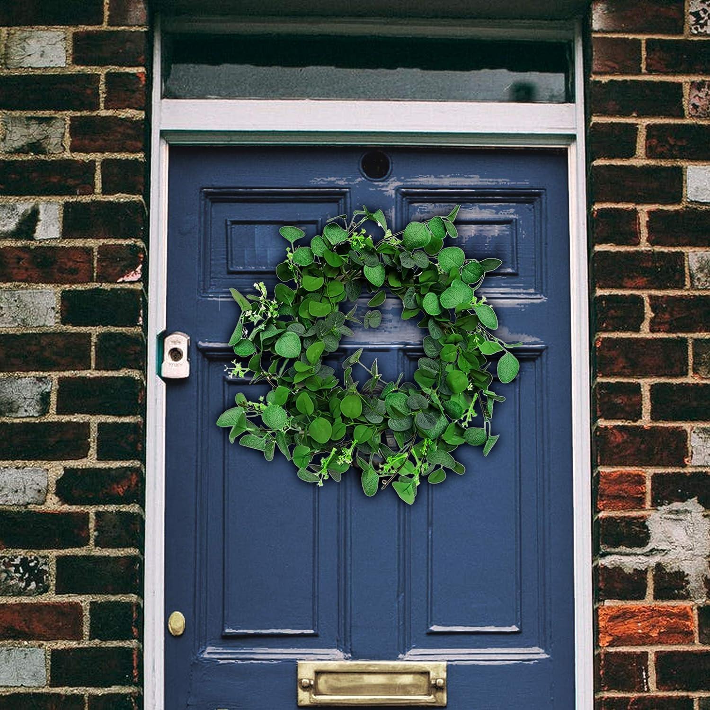 20 Elegant Front Door Wreath Farmhouse Wreath Porch Decor Green Wreath Farmhouse Decor Modern Eucalyptus Wreaths for Indoors and Outdoors Summer Wreath Eucalyptus Wreath with Free Plaid Ribbon