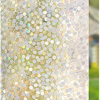 RABBITGOO No Glue Privacy Window Film Decorative Window Film Static Cling Window Film Circles Pattern Glass Film for…