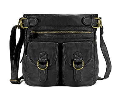 Scarleton Simple Duplet Pocket Crossbody Bag H199801 - Black ... a531fc2b0e26