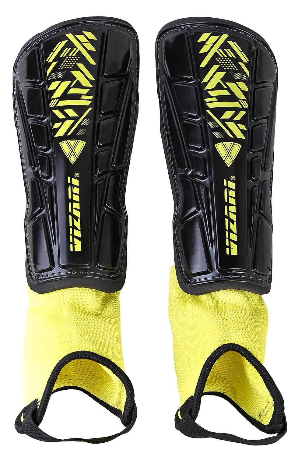 Vizari Malaga Soccer Shin Guards | Soccer Gear | Lightweight Protective Gear | Easily Adjustable Straps | Black/Yellow XXS