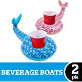 BigMouth Inc. Inflatable Mermaid Drink Float, 2-Pack Includes Pink Tail and Blue Tail Drink Floats