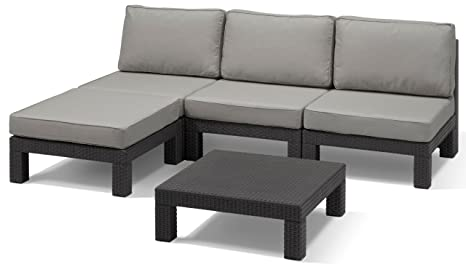 Amazon.de: Allibert Lounge-Set Nevada 5tlg, graphit/cool grey