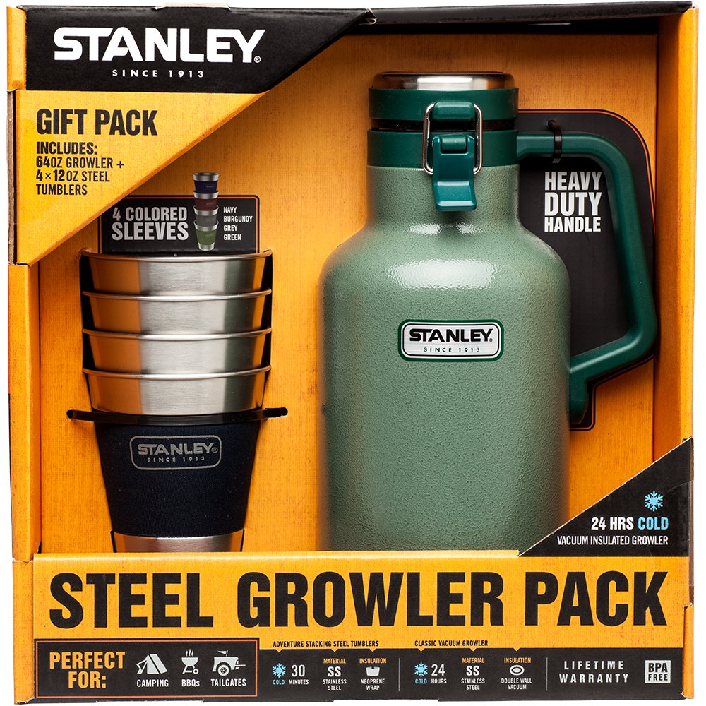 Stanley Growler Classic Vacuum Growler 64 oz and Adventure Stacking Steel Tumblers 12 oz, Hammertone Green - (4 Pack) Gift Set by Stanley