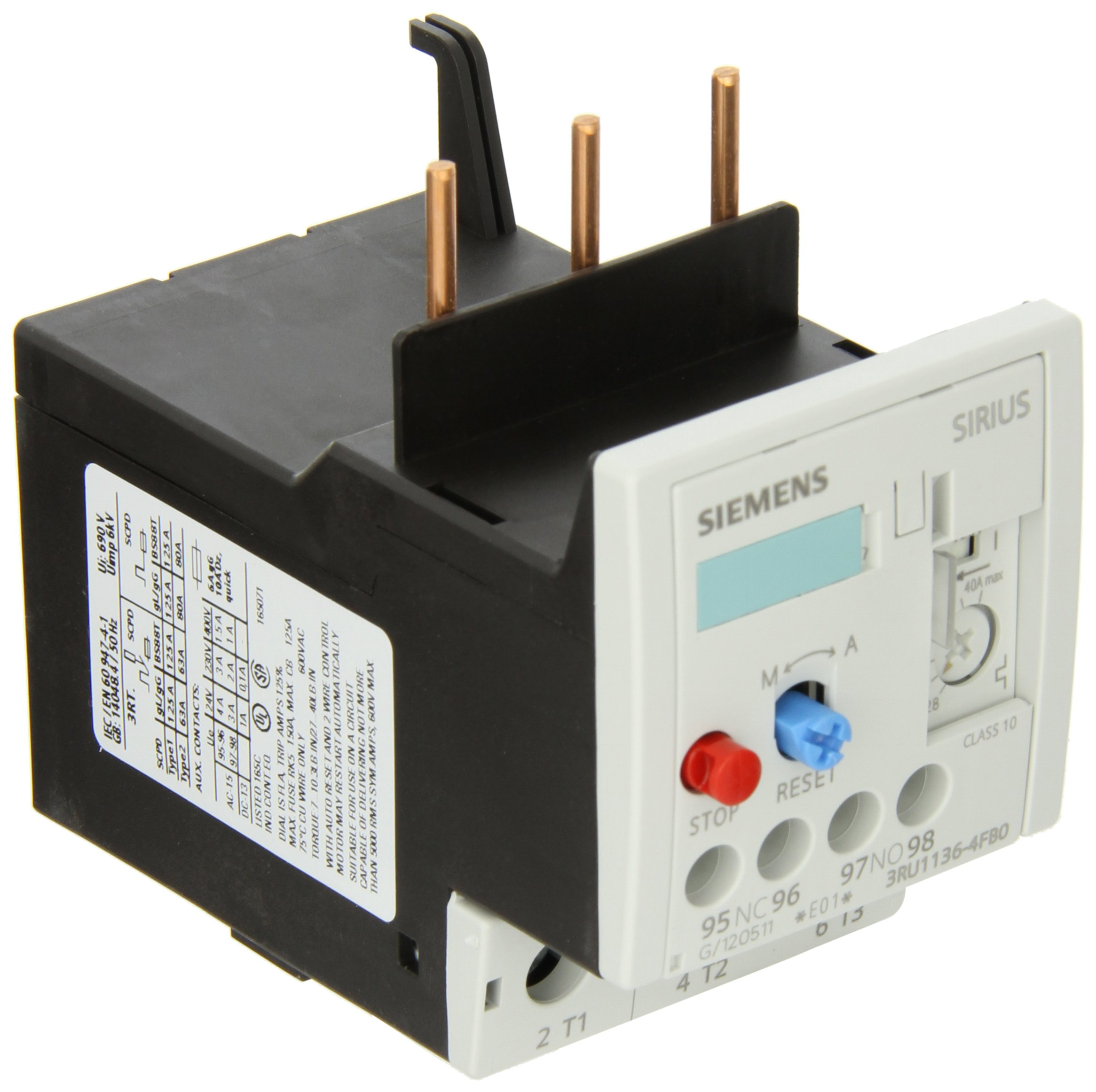 Siemens 3RU11 36-4FB0 Thermal Overload Relay, For Mounting Onto Contactor, Size S2, 28-40A Setting Range