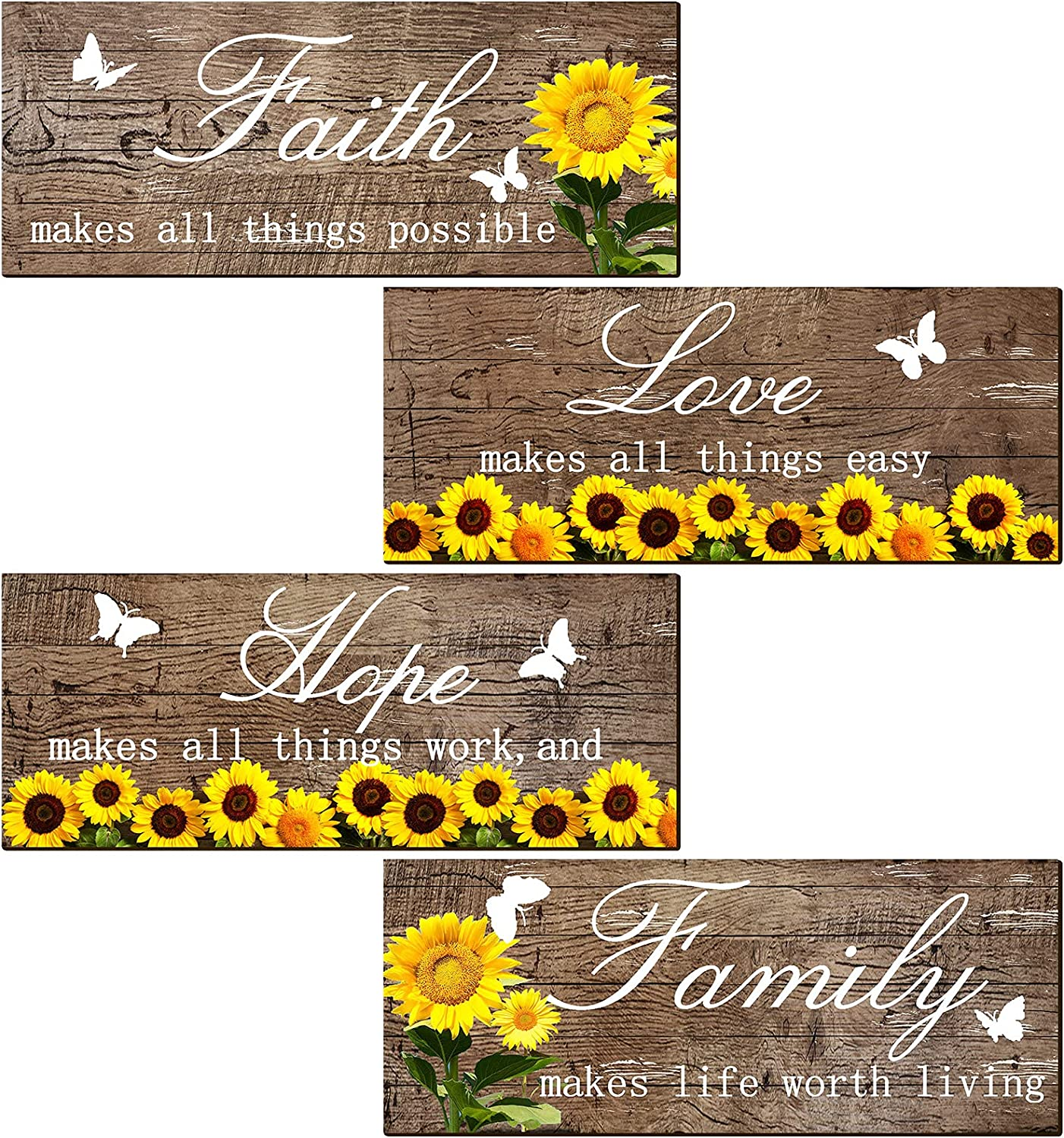 Jetec 4 Pieces Sunflowers Front Porch Door Plaque Sunflower Welcome Wooden Sign Faith Love Hope Family Wood Door Sign Sunflower Front Porch Hanging Decoration for Home Living Room Decor, 10 x 4 Inch